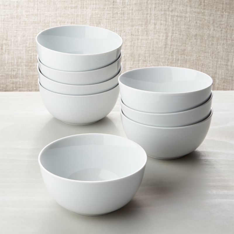 White Porcelain Cereal Bowls Set Of 8 Crate And Barrel