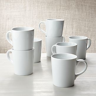 Set of 8 White Porcelain Coffee Mugs