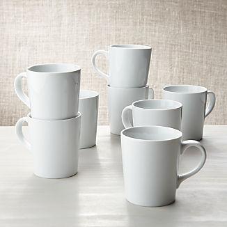 White Porcelain Coffee Mugs, Set of 8
