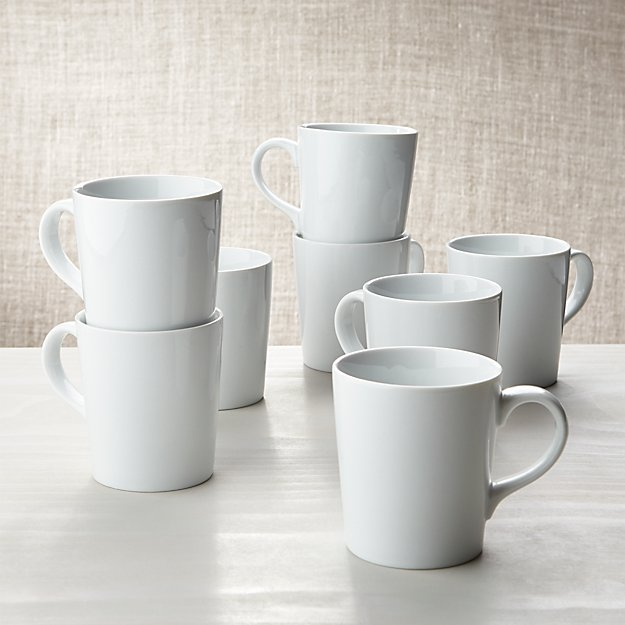 white porcelain mug set 8 coffe mugs reviews crate and barrel