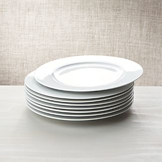 White Porcelain Dinner Plates Set of 8