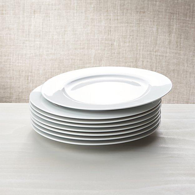 White Porcelain Dinner Plates Set of 8 - Image 1 of 5