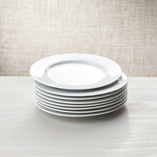 White Porcelain Salad Plates Set Of 8 In Dinnerware