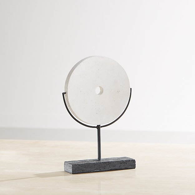 White Volcanic Ash Disc Sculpture - Image 1 of 7