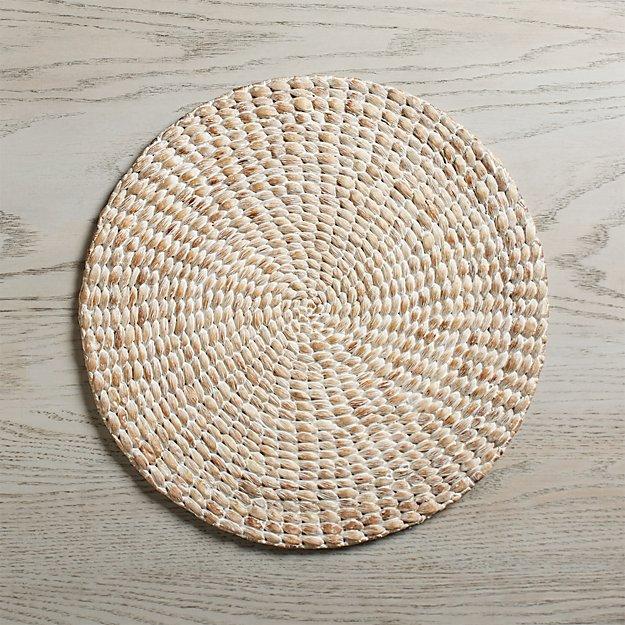 Whitewash Water Hyacinth Round Placemat - Image 1 of 7
