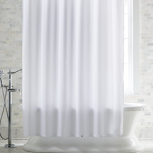 White Shower Curtain Liner with Magnets | Crate and Barrel