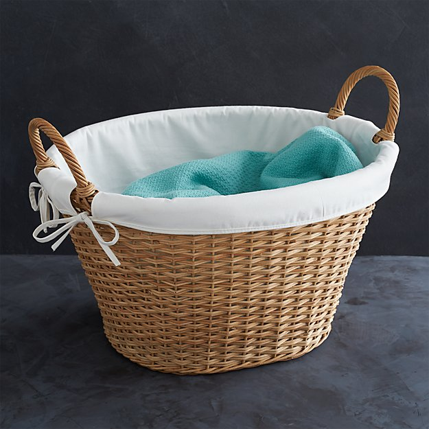 Wicker laundry basket with liner crate and barrel