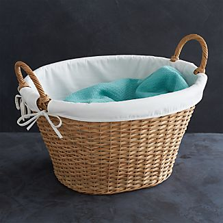 Wicker Laundry Basket with Liner