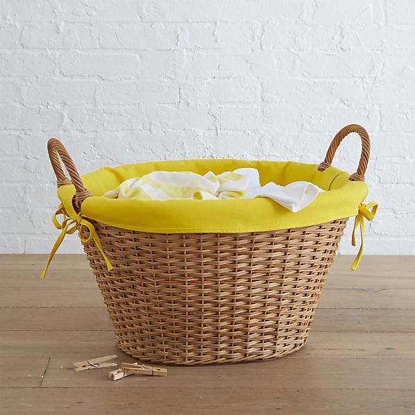 Wicker Basket with Yellow Laundry Liner