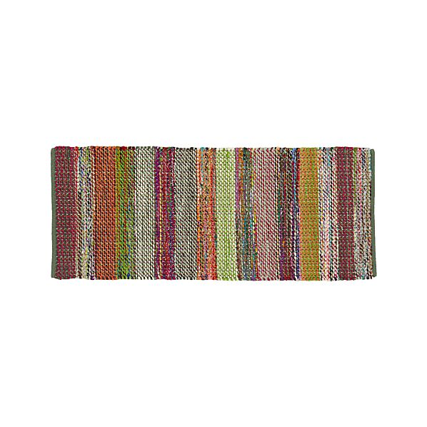 Wide Striped Multicolor Cotton 2.5'x6' Rag Rug Runner