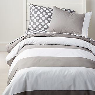 Grey And White Striped Twin Duvet Cover