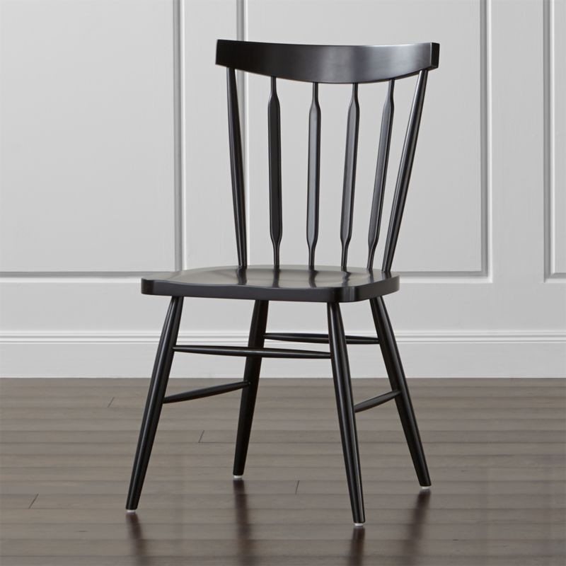 Willa Black Wood Dining Chair | Crate and Barrel