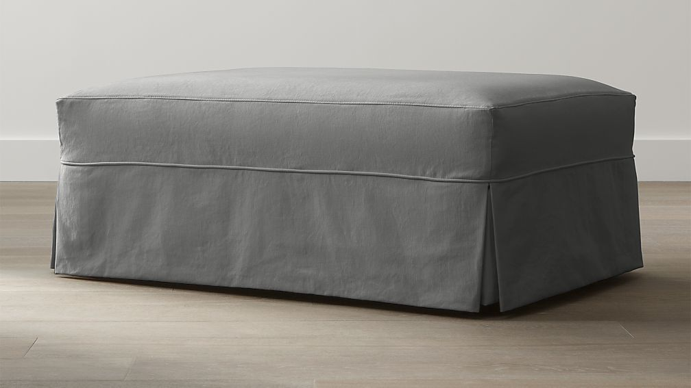 Willow Modern Slipcovered Ottoman and a Half with Casters - Image 1 of 3