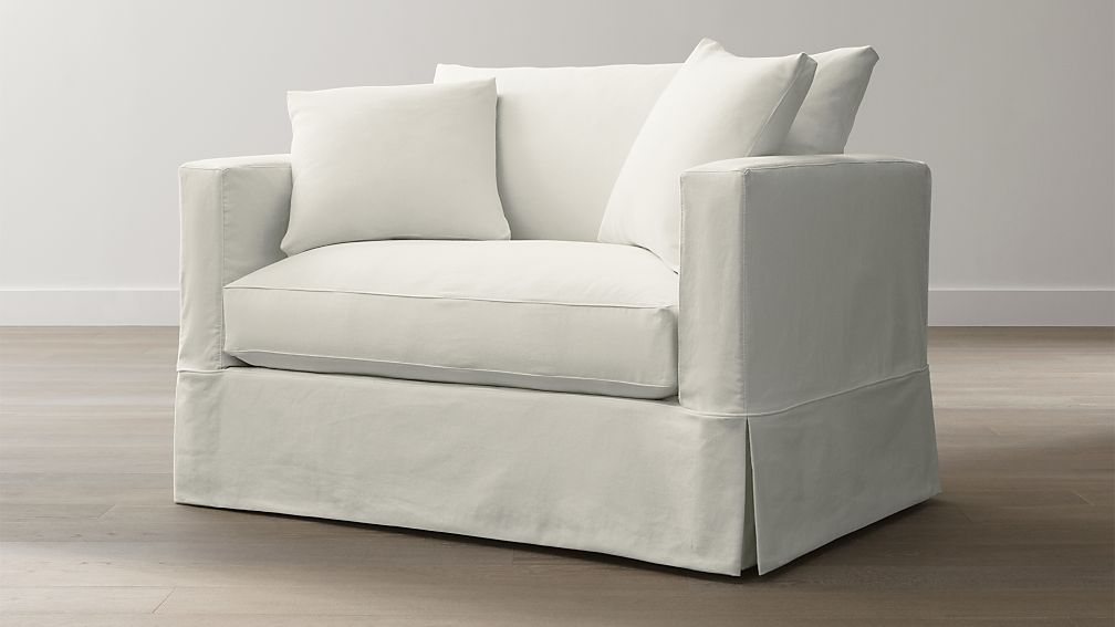willow white single sofa bed with air mattress | crate and barrel