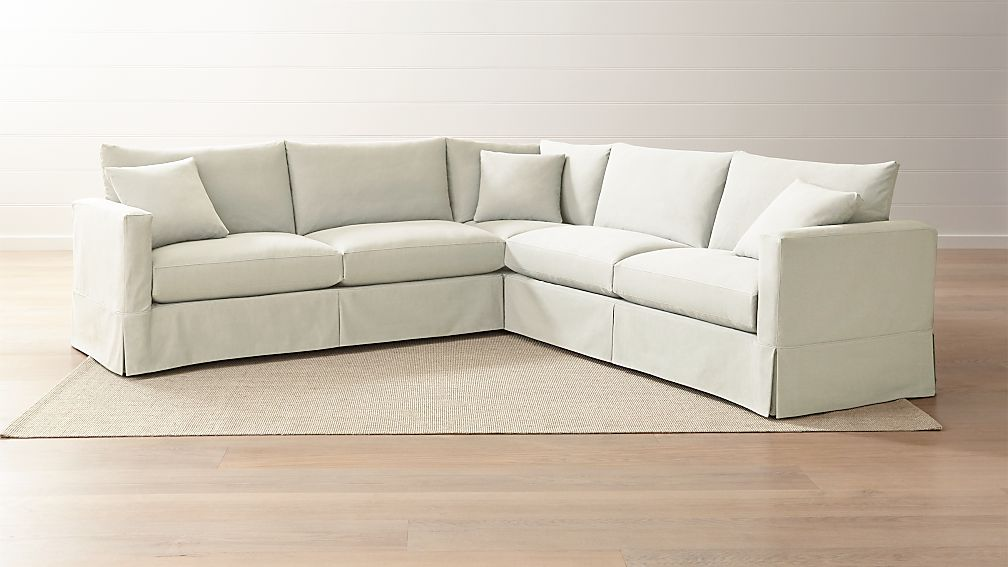Willow 3-Piece Modern Slipcovered Sectional + Reviews | Crate and Barrel