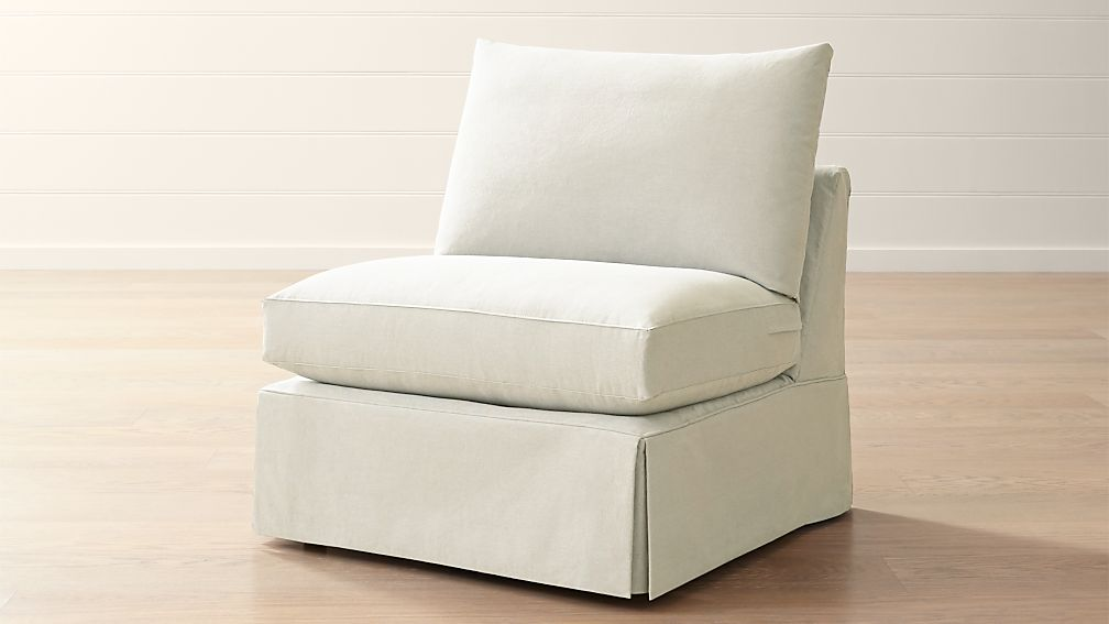 Willow modern slipcovered armless chair reviews crate for Crate and barrel armless chair