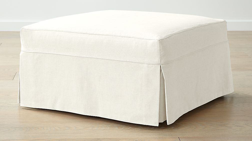 Willow Modern Slipcovered Square Cocktail Ottoman - Image 1 of 5