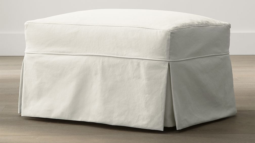 Willow Modern Slipcovered Ottoman with Casters - Image 1 of 4