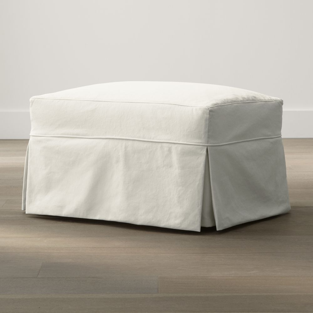 Willow Ottoman with Casters - Crate and Barrel