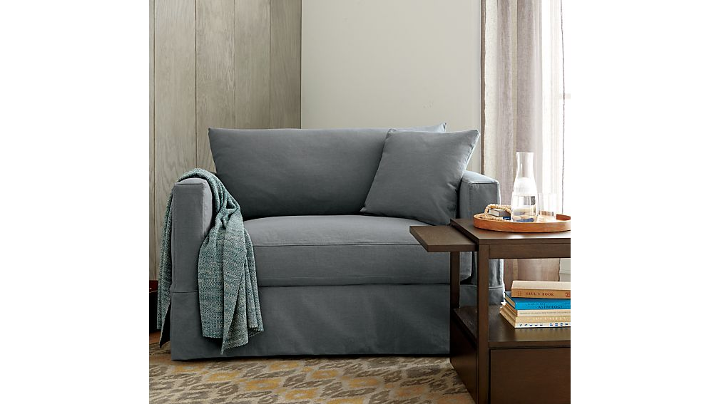 Willow Grey Chair and a Half Sleeper Crate and Barrel