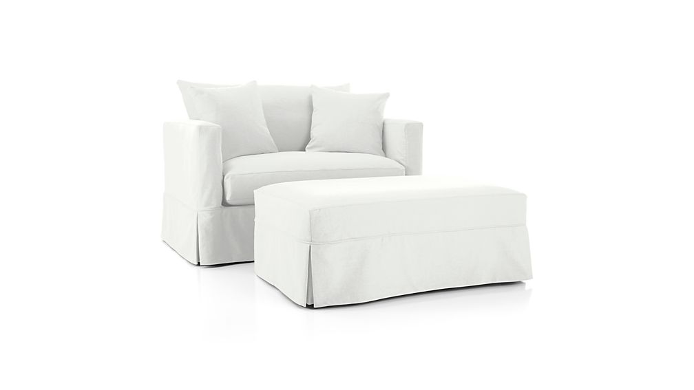 Willow Ottoman and a Half with Casters