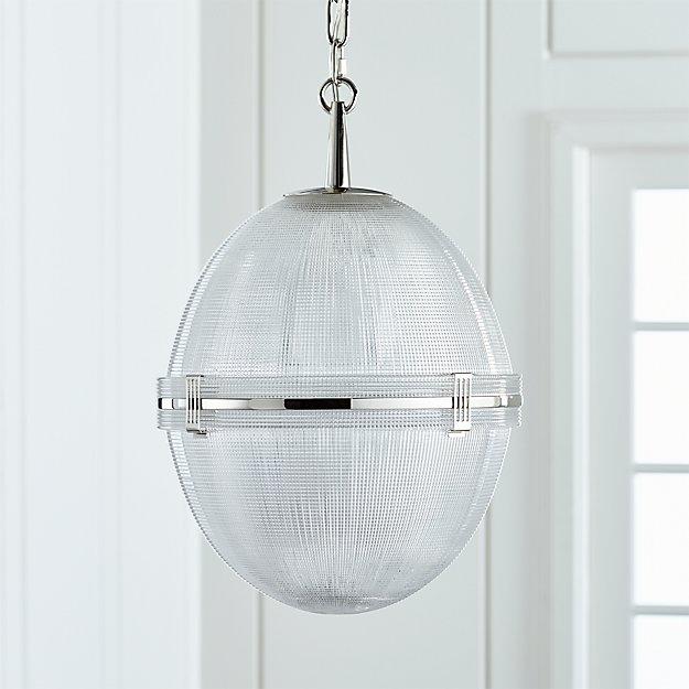 Windsor Glass Globe Polished Nickel Pendant