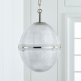 Windsor Glass Globe Polished Nickel Pendant
