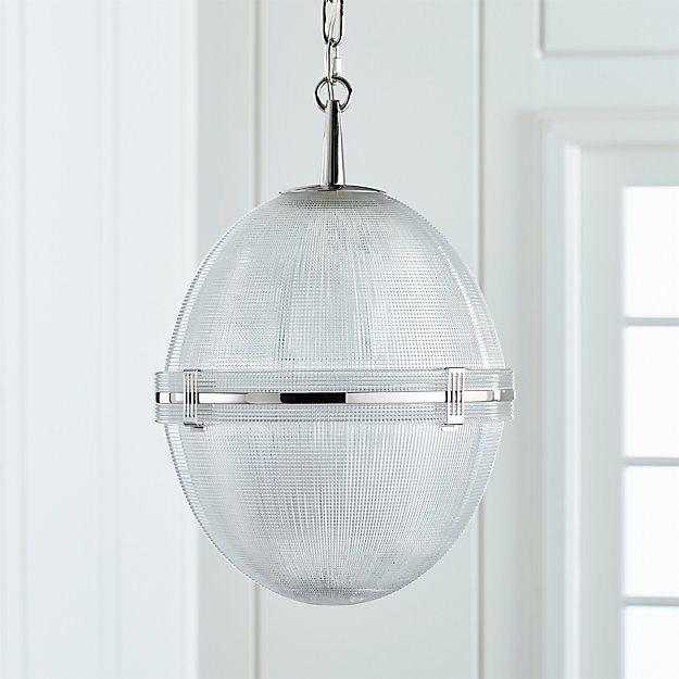 Windsor glass globe polished nickel pendant reviews crate and barrel