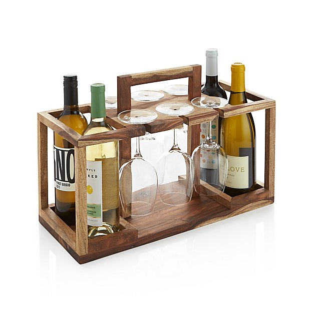 Wine bottle and glass caddy reviews crate and barrel for Wine bottle glass