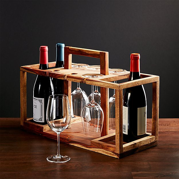 Wine Bottle And Glass Caddy Reviews Crate And Barrel