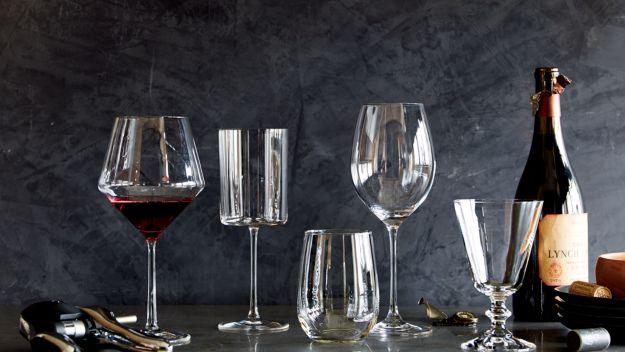 Variety of red and white wine glasses