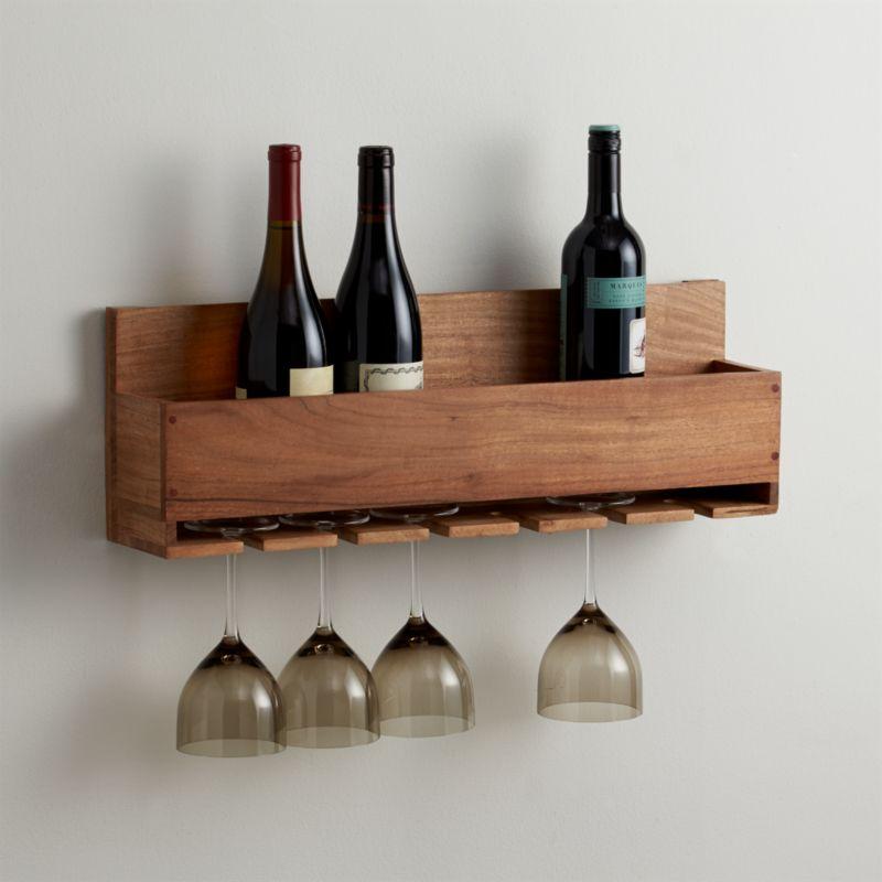 Wine stem rack reviews crate and barrel - Botellero de madera para vino ...