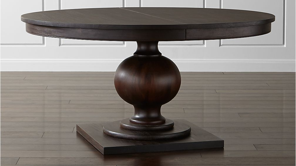 round extendable dining table Winnetka Dark Mahogany Round Extendable Dining Tables | Crate and  round extendable dining table