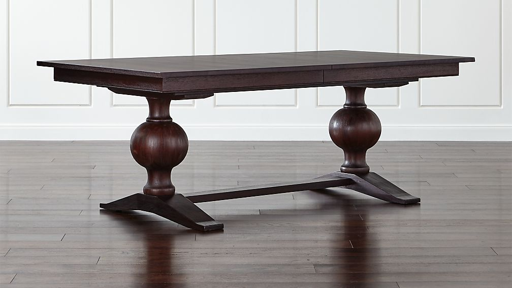 winnetka dark mahogany rectangular extendable dining table | crate
