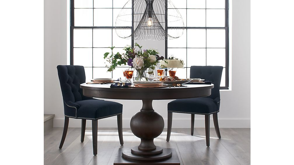 "Winnetka 48"" Round Dark Mahogany Extendable Dining Table"