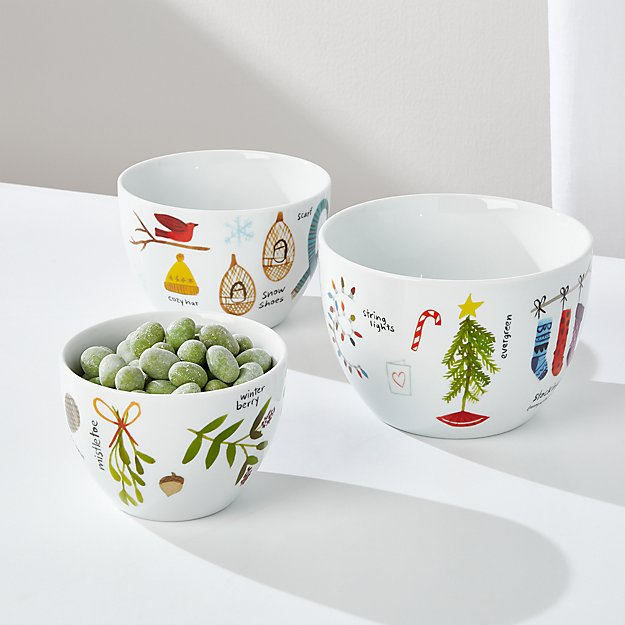 Winter Collage Nesting Bowls, Set of 3 - Image 1 of 6