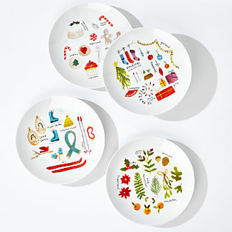 Winter Collage Plates, Set of 4