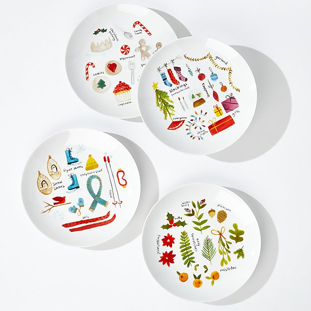 Winter Collage Plates, Set of 4 - Image 1 of 5