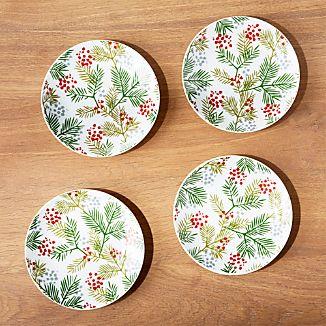 Winter Sprig Plates, Set of 4
