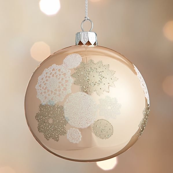 Rose Gold Winter White Lace Ball Ornament