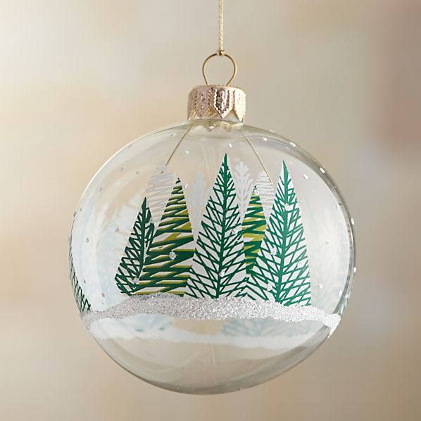 Clear Wintery Forest Ball Ornament