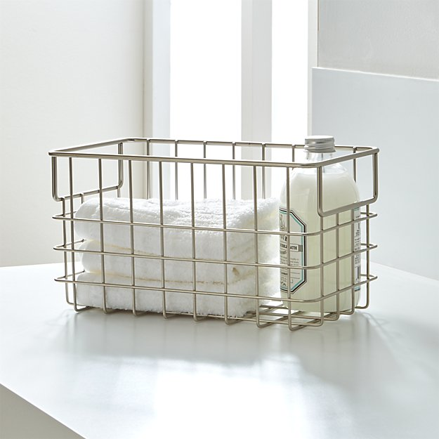 Small Nickel Wire Basket + Reviews | Crate and Barrel