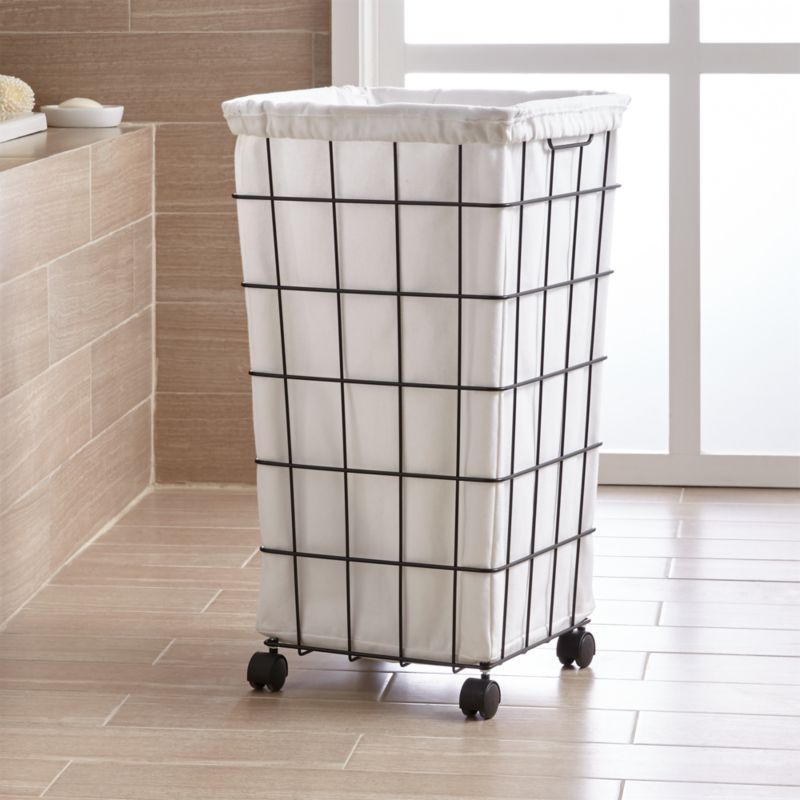 laundry basket on wheels black wire hamper with wheels and liner reviews crate 11052