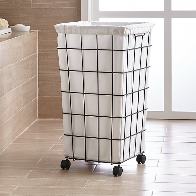Lovely Black Wire Hamper with Wheels and Liner + Reviews | Crate and Barrel EJ15