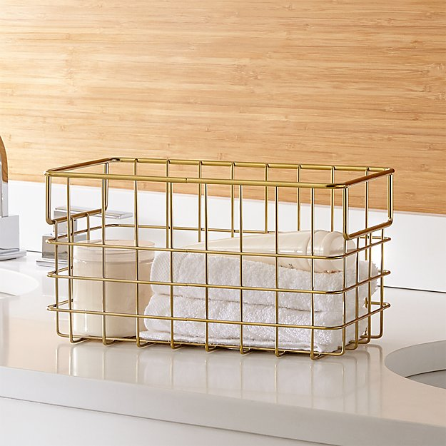 Super Brass Wire Basket Large + Reviews | Crate and Barrel JM76