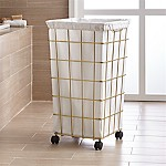 Brass Wire Hamper with Wheels and Liner