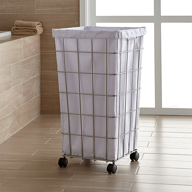 Greatest Nickel Wire Hamper with Wheels + Reviews | Crate and Barrel YI16