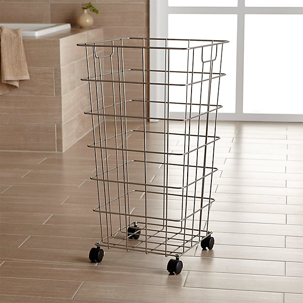 Nickel Wire Hamper With Wheels Reviews Crate And Barrel