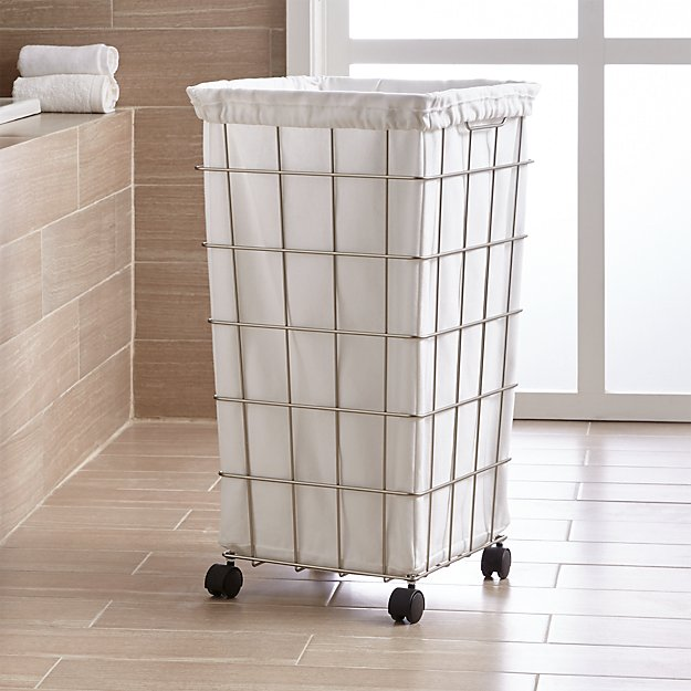 Nickel Wire Hamper with White Liner Set - Image 1 of 3