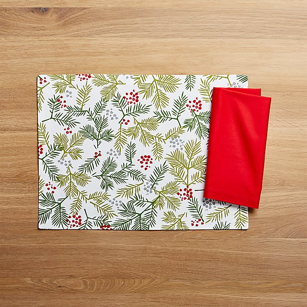 Winter Sprig Placemat and Fete Cherry Cloth Dinner Napkin